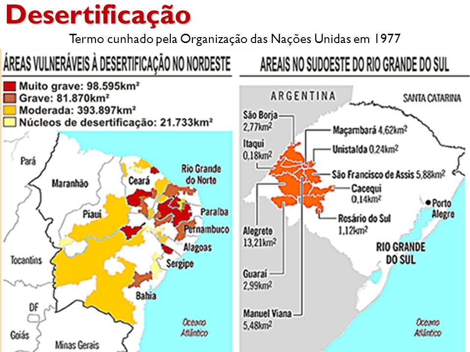Desertificação Termo cunhado pela Organização das Nações Unidas em 1977