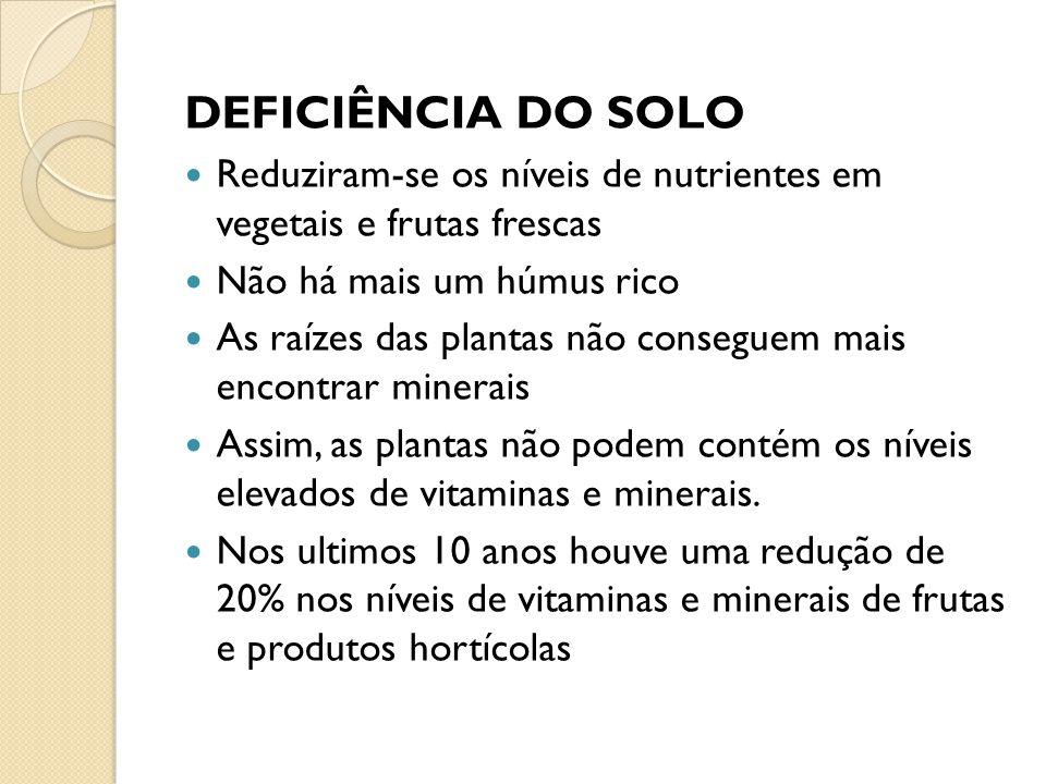 Reduziram-se os níveis de nutrientes em vegetais e frutas frescas Não há mais um húmus rico As raízes das plantas não conseguem mais encontrar minerai