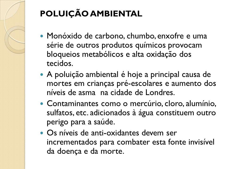 Monóxido de carbono, chumbo, enxofre e uma série de outros produtos químicos provocam bloqueios metabólicos e alta oxidação dos tecidos. A poluição am