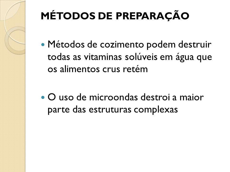 Métodos de cozimento podem destruir todas as vitaminas solúveis em água que os alimentos crus retém O uso de microondas destroi a maior parte das estr