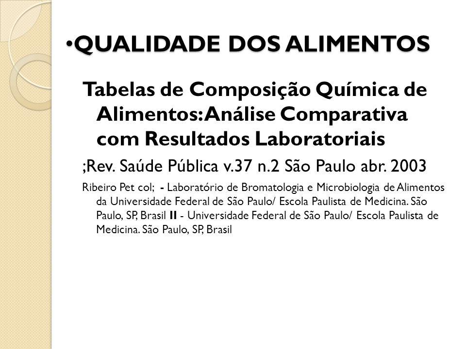 QUALIDADE DOS ALIMENTOS QUALIDADE DOS ALIMENTOS Tabelas de Composição Química de Alimentos: Análise Comparativa com Resultados Laboratoriais ;Rev. Saú