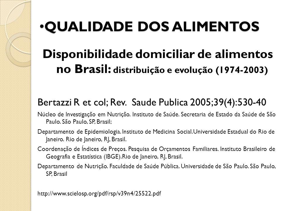 Disponibilidade domiciliar de alimentos no Brasil: distribuição e evolução (1974-2003) Bertazzi R et col; Rev. Saude Publica 2005;39(4):530-40 Núcleo