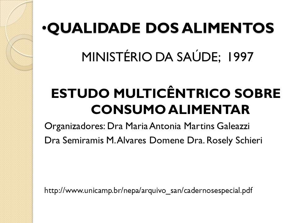 MINISTÉRIO DA SAÚDE; 1997 ESTUDO MULTICÊNTRICO SOBRE CONSUMO ALIMENTAR Organizadores: Dra Maria Antonia Martins Galeazzi Dra Semiramis M. Alvares Dome