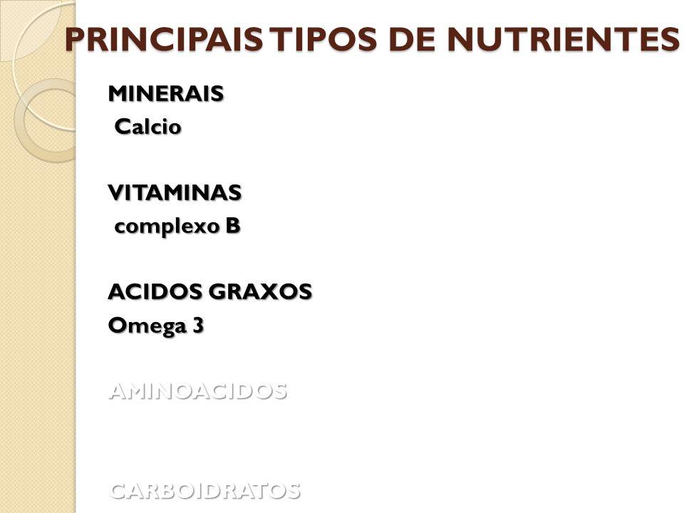 PRINCIPAIS TIPOS DE NUTRIENTES MINERAIS Calcio VITAMINAS complexo B complexo B ACIDOS GRAXOS Omega 3 AMINOACIDOS CARBOIDRATOS
