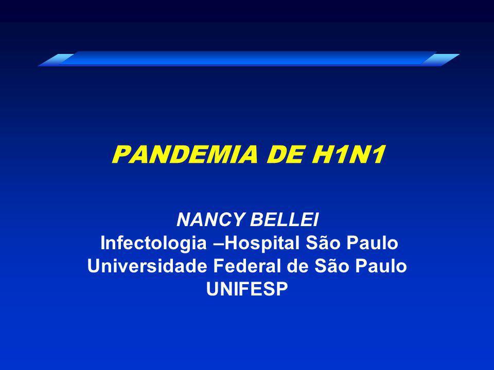 Pandemias de Influenza no século XX Ano 1918 - 20 1957- 591968 - 70 Gripe Espanhola A(H1N1) Gripe Asiática A(H2N2) Gripe de Hong Kong A(H3N2) 1,5% da população mundial Brasil - 35.240 óbitos Mun.