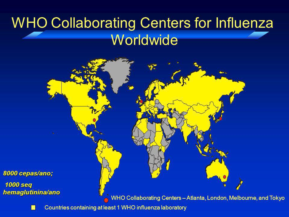 WHO Collaborating Centers for Influenza Worldwide Countries containing at least 1 WHO influenza laboratory WHO Collaborating Centers – Atlanta, London