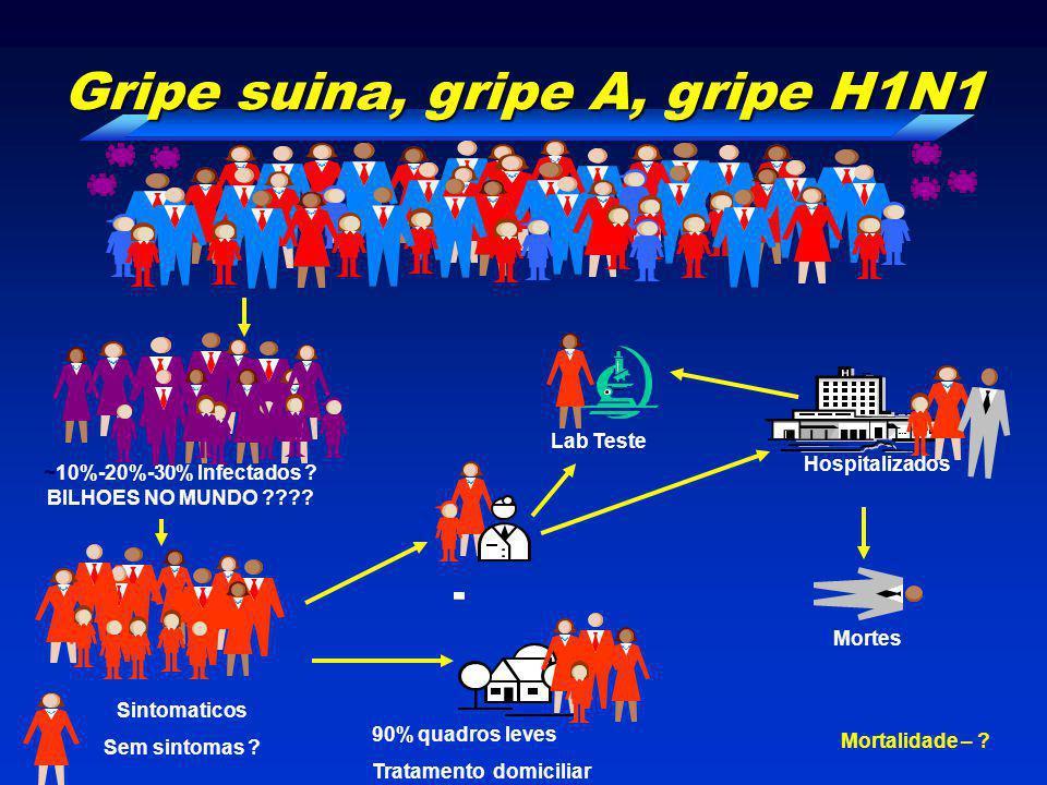 ~10%-20%-30% Infectados ? BILHOES NO MUNDO ???? Sintomaticos Sem sintomas ? 90% quadros leves Tratamento domiciliar Hospitalizados Lab Teste Mortes Gr