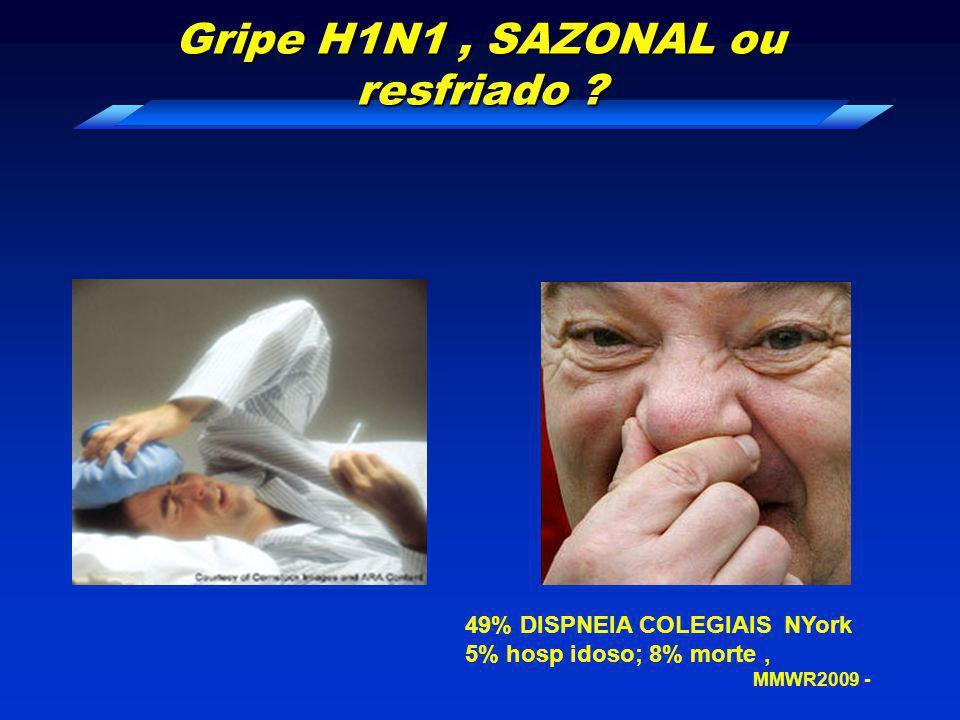 Gripe H1N1, SAZONAL ou resfriado ? 49% DISPNEIA COLEGIAIS NYork 5% hosp idoso; 8% morte, MMWR2009 -