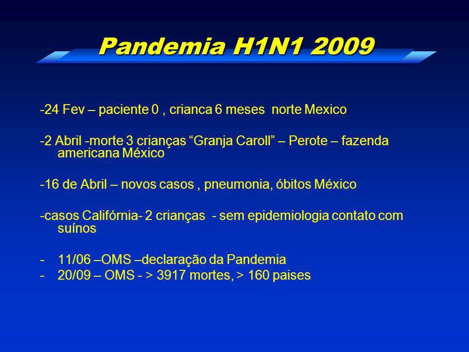 """Pandemia H1N1 2009 -24 Fev – paciente 0, crianca 6 meses norte Mexico -2 Abril -morte 3 crianças """"Granja Caroll"""" – Perote – fazenda americana México -"""