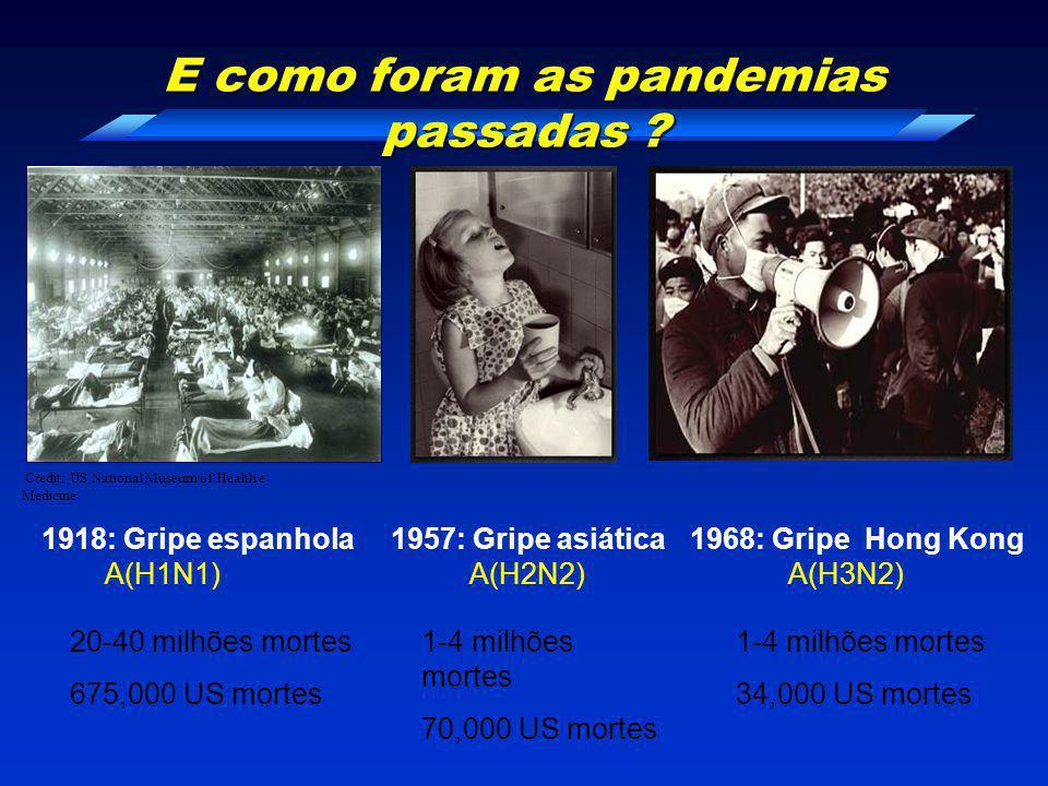 E como foram as pandemias passadas ? A(H1N1)A(H2N2)A(H3N2) 1918: Gripe espanhola1957: Gripe asiática1968: Gripe Hong Kong 20-40 milhões mortes 675,000