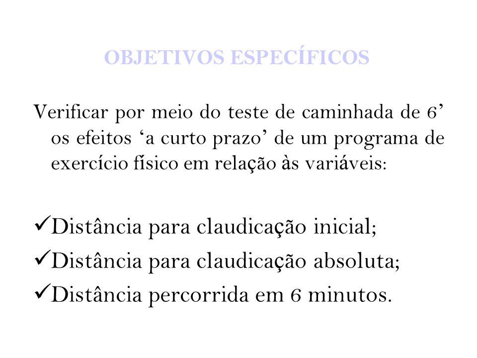 OBJETIVOS ESPEC Í FICOS Verificar por meio do teste de caminhada de 6 ' os efeitos ' a curto prazo ' de um programa de exerc í cio f í sico em rela ç
