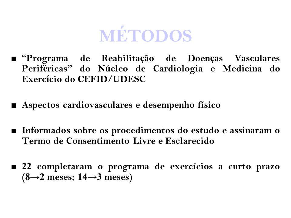 """M É TODOS ■"""" Programa de Reabilita ç ão de Doen ç as Vasculares Perif é ricas """" do N ú cleo de Cardiologia e Medicina do Exerc í cio do CEFID/UDESC ■"""