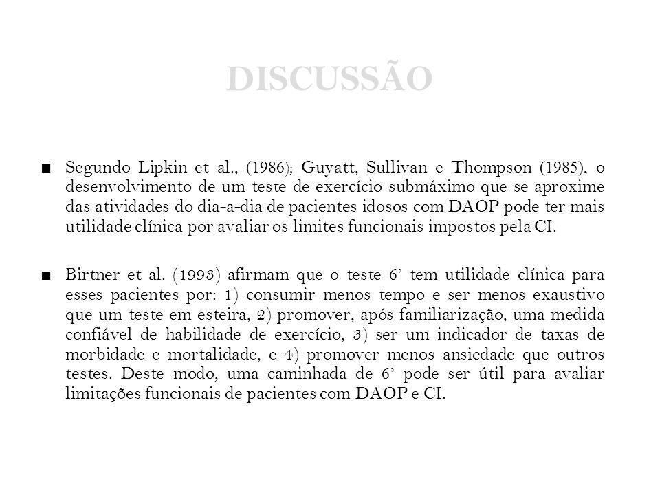 DISCUSSÃO ■ Segundo Lipkin et al., (1986 ); Guyatt, Sullivan e Thompson (1985), o desenvolvimento de um teste de exercício submáximo que se aproxime d