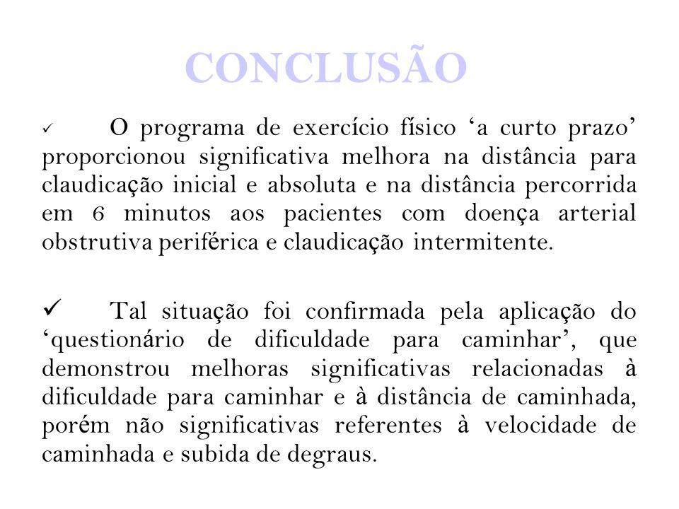 CONCLUSÃO O programa de exerc í cio f í sico ' a curto prazo ' proporcionou significativa melhora na distância para claudica ç ão inicial e absoluta e