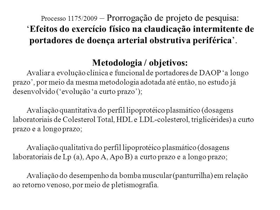 Processo 1175/2009 – Prorrogação de projeto de pesquisa: 'Efeitos do exercício físico na claudicação intermitente de portadores de doença arterial obs