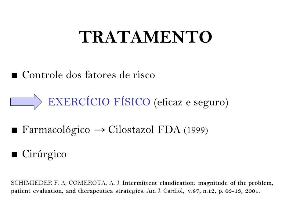 TRATAMENTO ■ Controle dos fatores de risco EXERCÍCIO FÍSICO (eficaz e seguro) ■ Farmacológico → Cilostazol FDA (1999) ■ Cirúrgico SCHIMIEDER F. A; COM