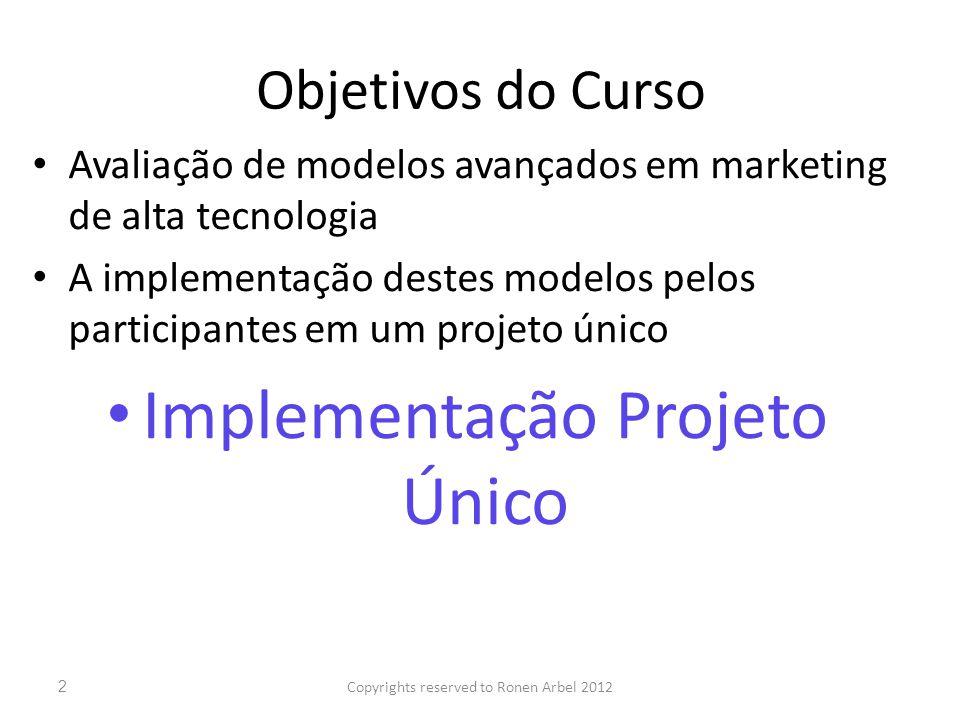 Objetivos do Curso Avaliação de modelos avançados em marketing de alta tecnologia A implementação destes modelos pelos participantes em um projeto único Implementação Projeto Único Copyrights reserved to Ronen Arbel 20122