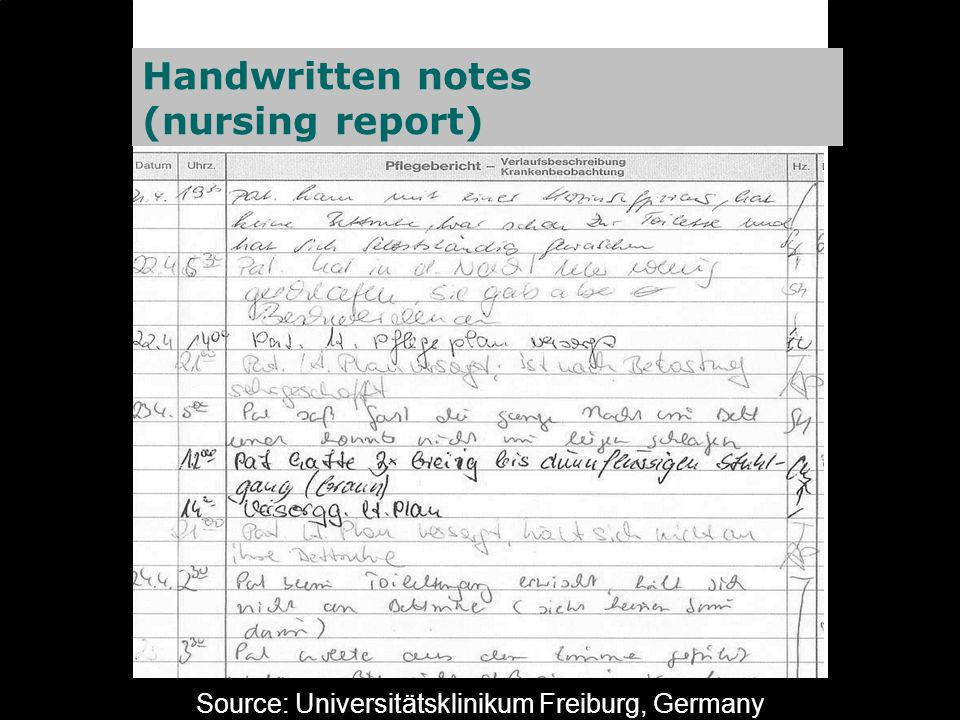 Source: Universitätsklinikum Freiburg, Germany Handwritten notes (nursing report)