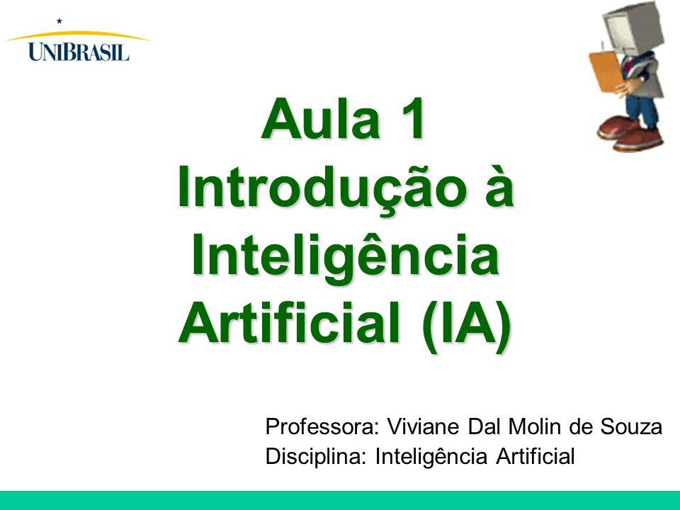 Professora: Viviane Dal Molin de Souza Disciplina: Inteligência Artificial Aula 1 Introdução à Inteligência Artificial (IA)