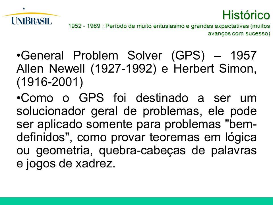 Histórico 1952 - 1969 : Período de muito entusiasmo e grandes expectativas (muitos avanços com sucesso) General Problem Solver (GPS) – 1957 Allen Newell (1927-1992) e Herbert Simon, (1916-2001) Como o GPS foi destinado a ser um solucionador geral de problemas, ele pode ser aplicado somente para problemas bem- definidos , como provar teoremas em lógica ou geometria, quebra-cabeças de palavras e jogos de xadrez.
