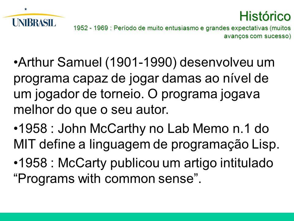 Histórico 1952 - 1969 : Período de muito entusiasmo e grandes expectativas (muitos avanços com sucesso) Arthur Samuel (1901-1990) desenvolveu um programa capaz de jogar damas ao nível de um jogador de torneio.