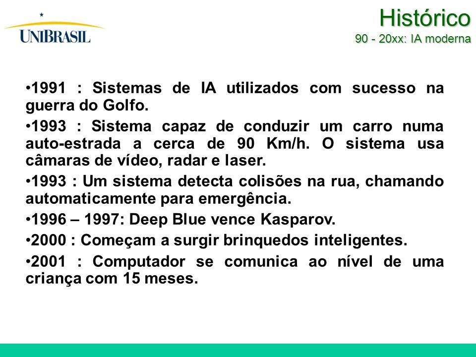 Histórico 90 - 20xx: IA moderna 1991 : Sistemas de IA utilizados com sucesso na guerra do Golfo. 1993 : Sistema capaz de conduzir um carro numa auto-e