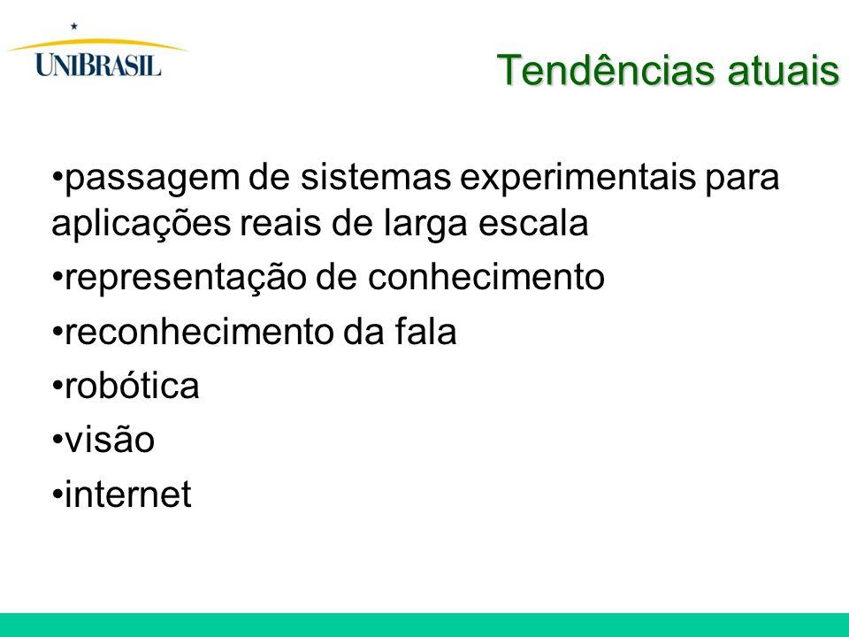 Tendências atuais passagem de sistemas experimentais para aplicações reais de larga escala representação de conhecimento reconhecimento da fala robótica visão internet