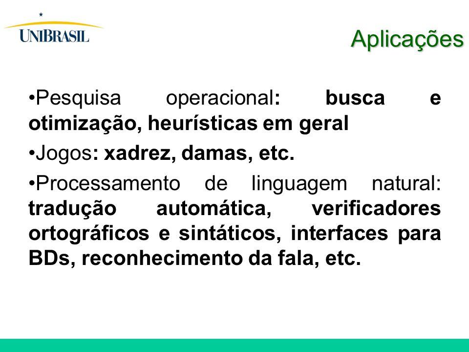Aplicações Pesquisa operacional: busca e otimização, heurísticas em geral Jogos: xadrez, damas, etc. Processamento de linguagem natural: tradução auto