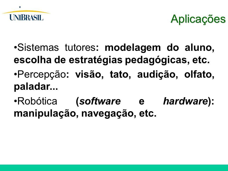 Sistemas tutores: modelagem do aluno, escolha de estratégias pedagógicas, etc. Percepção: visão, tato, audição, olfato, paladar... Robótica (software