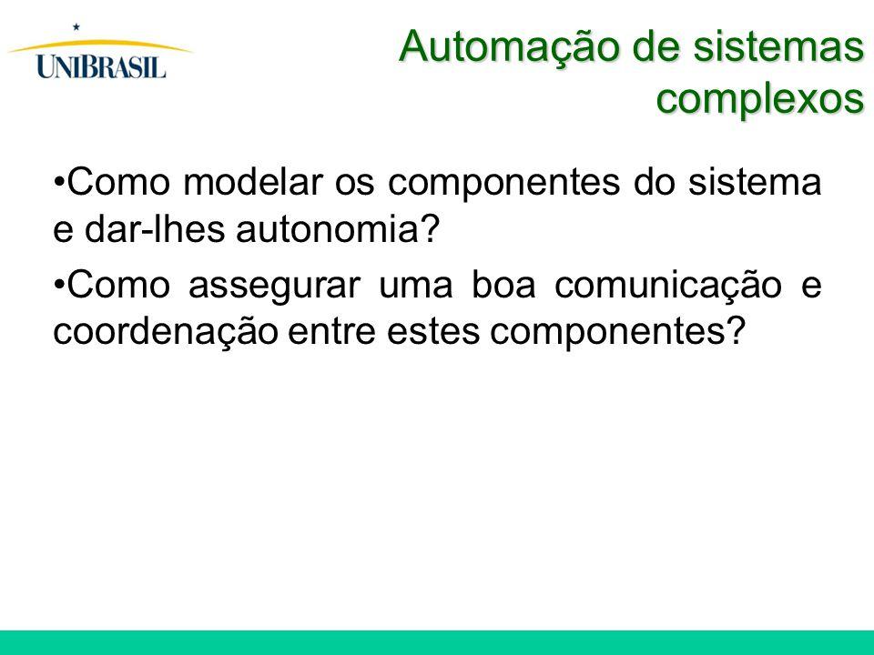 Automação de sistemas complexos Como modelar os componentes do sistema e dar-lhes autonomia.