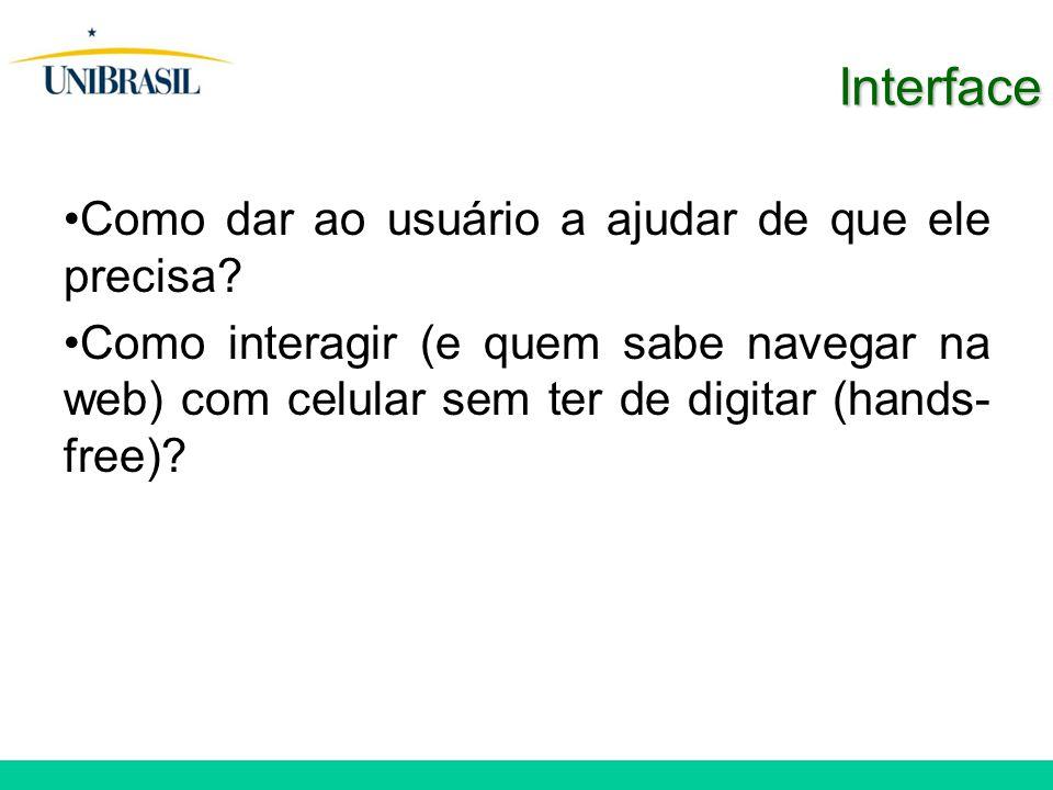 Interface Como dar ao usuário a ajudar de que ele precisa? Como interagir (e quem sabe navegar na web) com celular sem ter de digitar (hands- free)?
