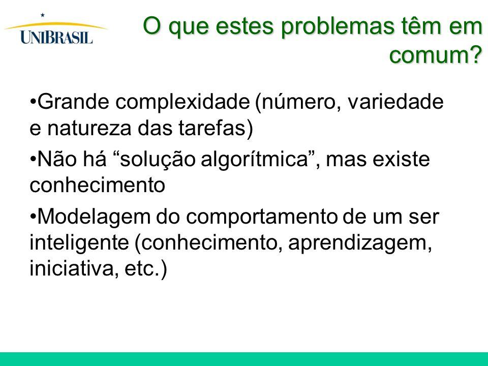 """O que estes problemas têm em comum? Grande complexidade (número, variedade e natureza das tarefas) Não há """"solução algorítmica"""", mas existe conhecimen"""