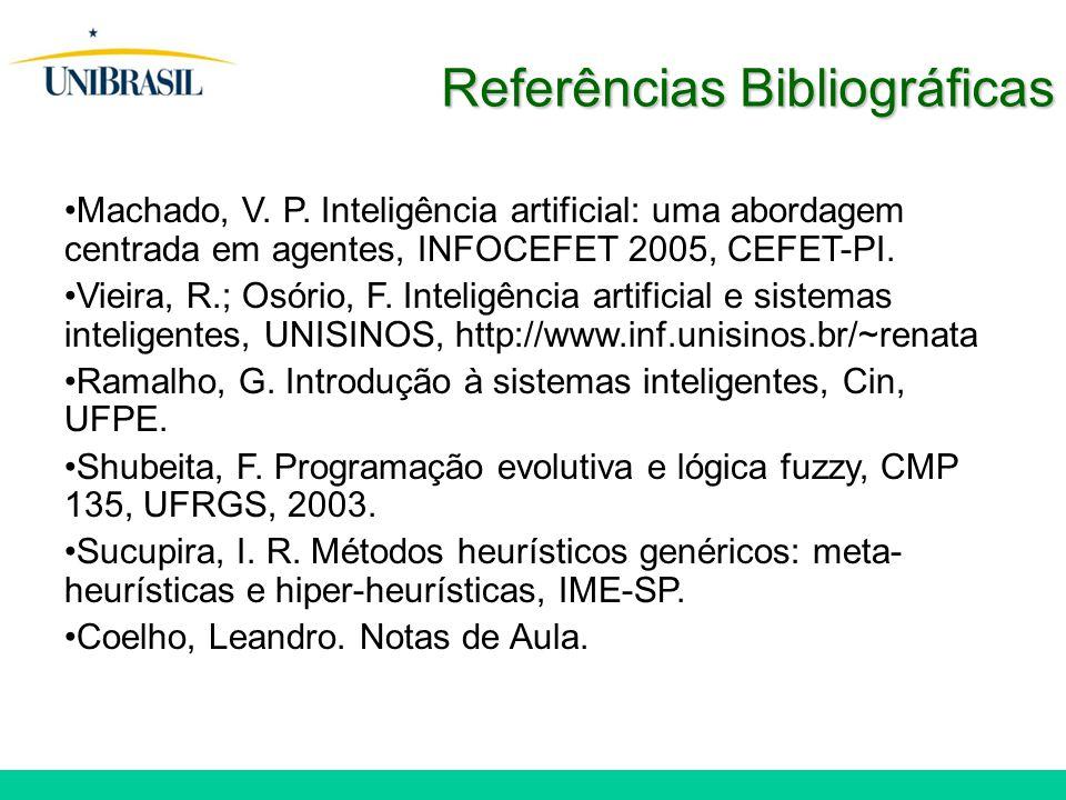 Machado, V. P. Inteligência artificial: uma abordagem centrada em agentes, INFOCEFET 2005, CEFET-PI. Vieira, R.; Osório, F. Inteligência artificial e
