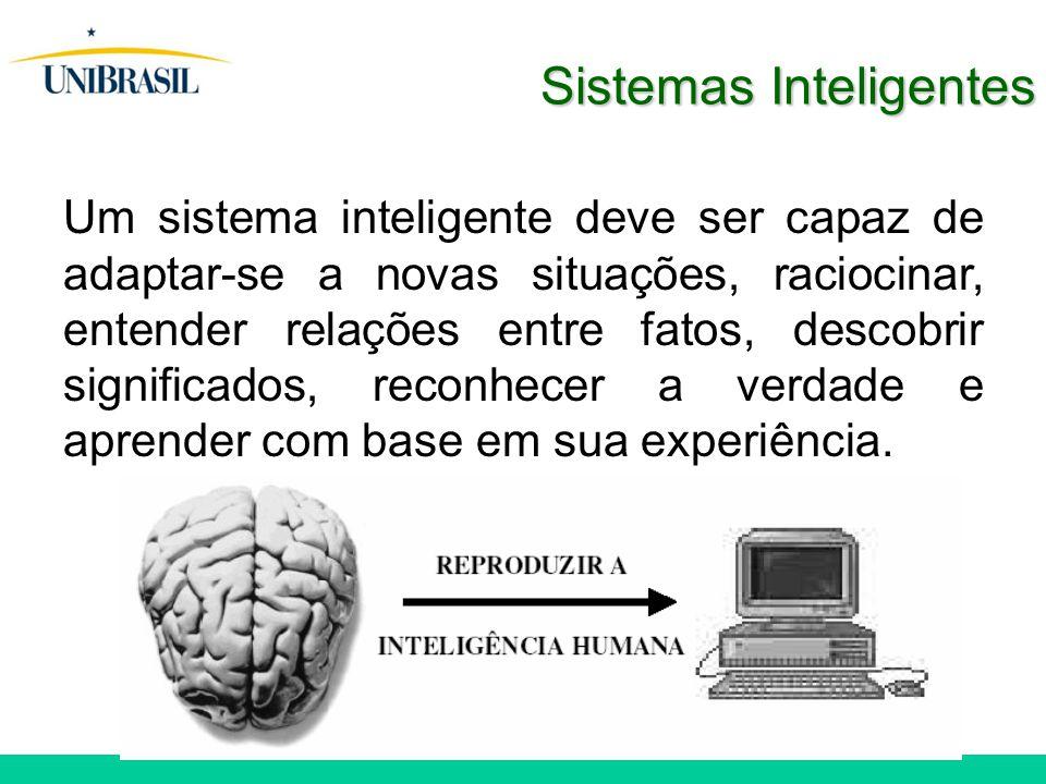 Sistemas Inteligentes Um sistema inteligente deve ser capaz de adaptar-se a novas situações, raciocinar, entender relações entre fatos, descobrir significados, reconhecer a verdade e aprender com base em sua experiência.