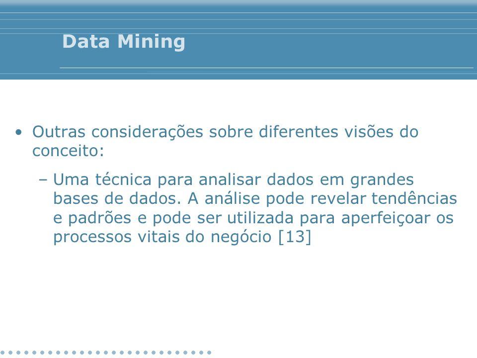 Data Mining Outras considerações sobre diferentes visões do conceito: –Uma técnica para analisar dados em grandes bases de dados. A análise pode revel