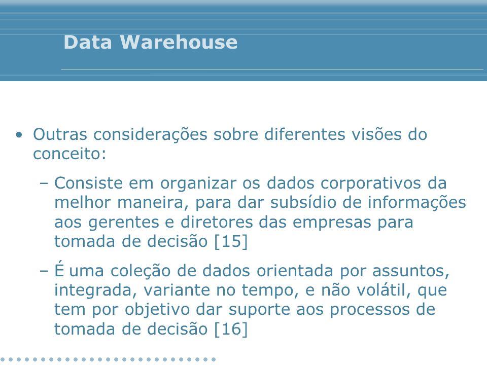 Data Warehouse Outras considerações sobre diferentes visões do conceito: –Consiste em organizar os dados corporativos da melhor maneira, para dar subs
