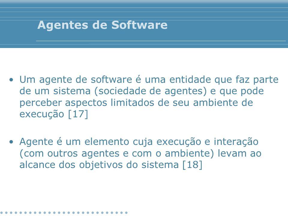 Agentes de Software Um agente de software é uma entidade que faz parte de um sistema (sociedade de agentes) e que pode perceber aspectos limitados de