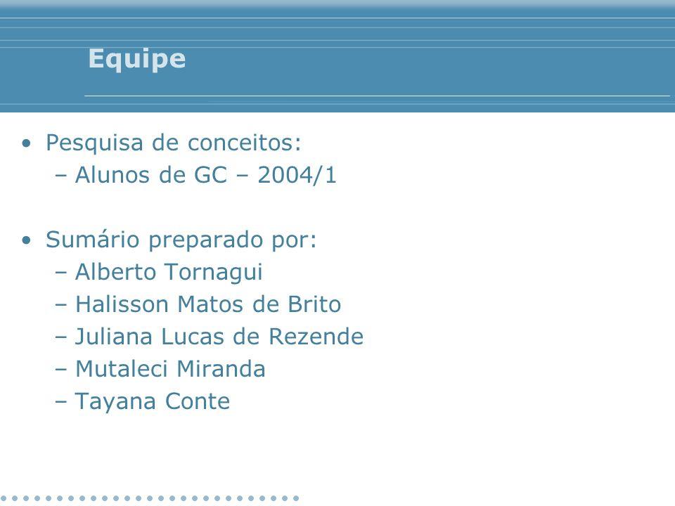 Equipe Pesquisa de conceitos: –Alunos de GC – 2004/1 Sumário preparado por: –Alberto Tornagui –Halisson Matos de Brito –Juliana Lucas de Rezende –Muta
