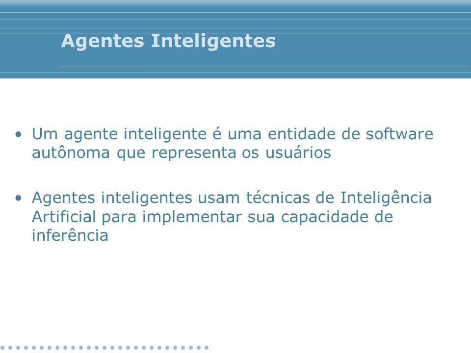 Agentes Inteligentes Um agente inteligente é uma entidade de software autônoma que representa os usuários Agentes inteligentes usam técnicas de Inteli
