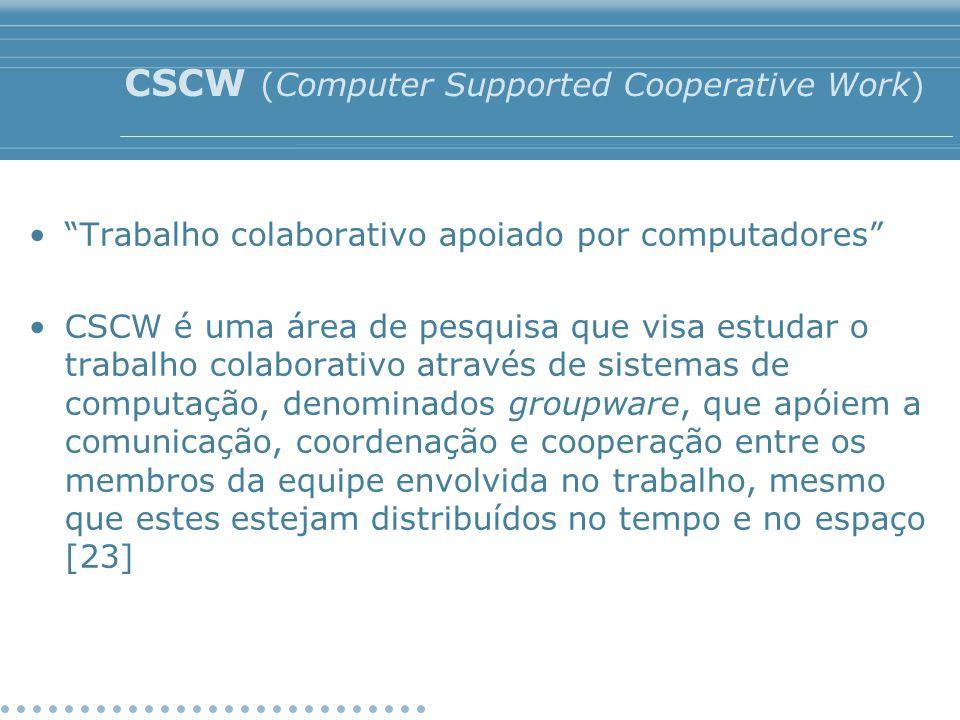 """CSCW (Computer Supported Cooperative Work) """"Trabalho colaborativo apoiado por computadores"""" CSCW é uma área de pesquisa que visa estudar o trabalho co"""