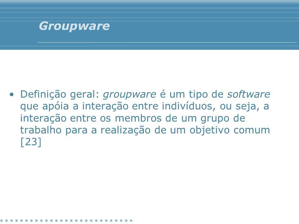 Groupware Definição geral: groupware é um tipo de software que apóia a interação entre indivíduos, ou seja, a interação entre os membros de um grupo d