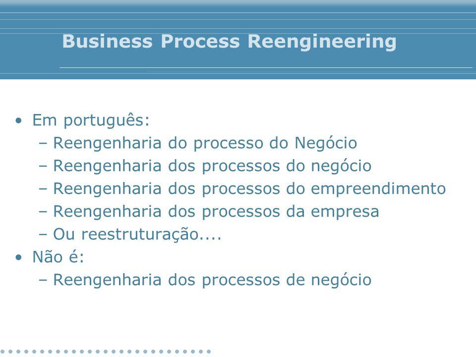 Business Process Reengineering Em português: –Reengenharia do processo do Negócio –Reengenharia dos processos do negócio –Reengenharia dos processos d