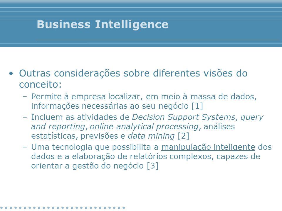 Business Intelligence Outras considerações sobre diferentes visões do conceito: –Permite à empresa localizar, em meio à massa de dados, informações ne