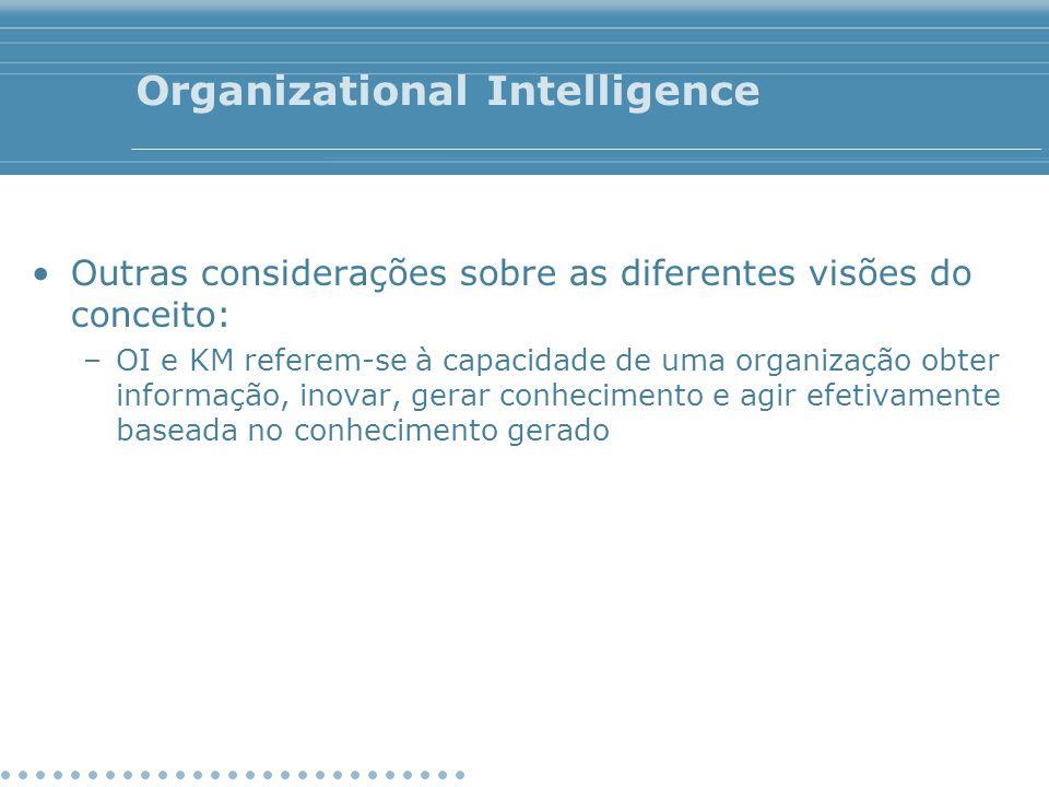 Organizational Intelligence Outras considerações sobre as diferentes visões do conceito: –OI e KM referem-se à capacidade de uma organização obter inf