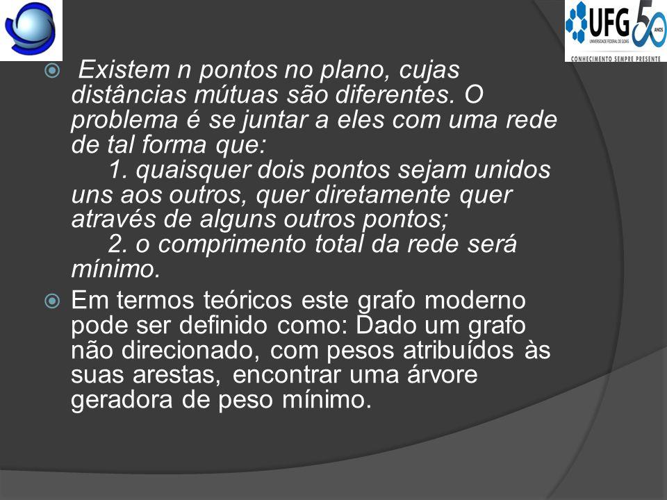  O problema da Árvore Geradora Mínima é a base de Otimização Combinatória e em certo sentido o seu berço.
