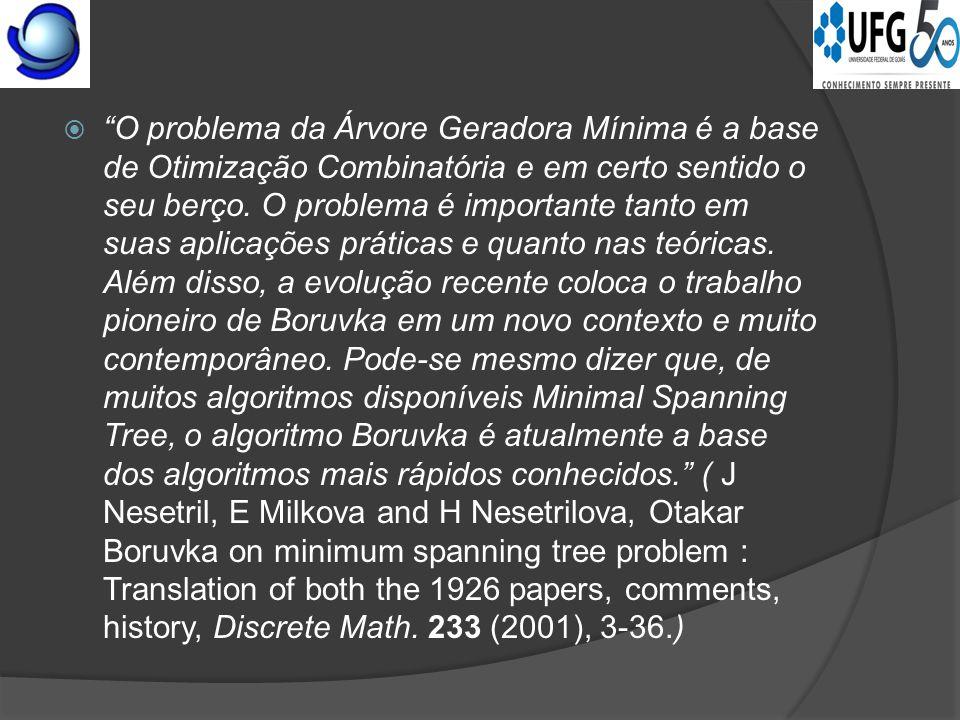  Jindrich Saxel  O problema da Árvore Geradora Mínima é a base de Otimização Combinatória e em certo sentido o seu berço.