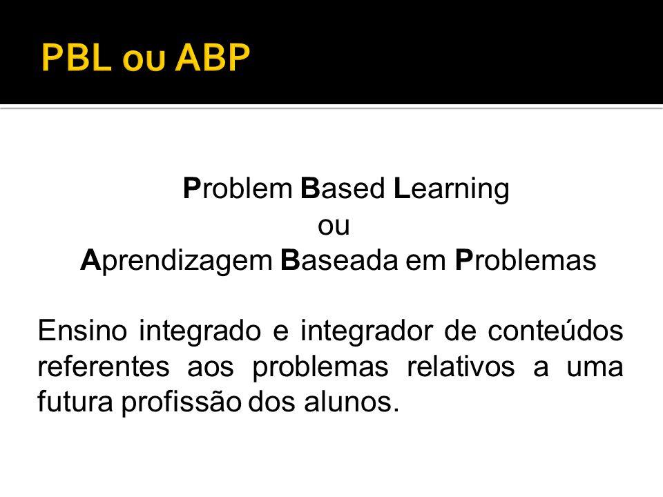 Problem Based Learning ou Aprendizagem Baseada em Problemas Ensino integrado e integrador de conteúdos referentes aos problemas relativos a uma futura