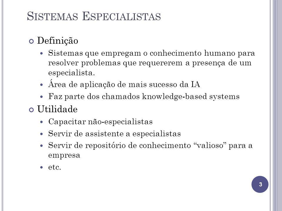 S ISTEMAS E SPECIALISTAS Definição Sistemas que empregam o conhecimento humano para resolver problemas que requererem a presença de um especialista. Á