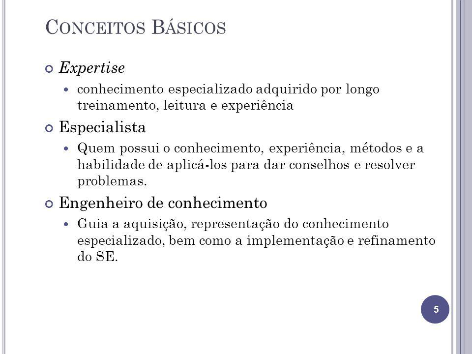 C ONCEITOS B ÁSICOS Expertise conhecimento especializado adquirido por longo treinamento, leitura e experiência Especialista Quem possui o conheciment