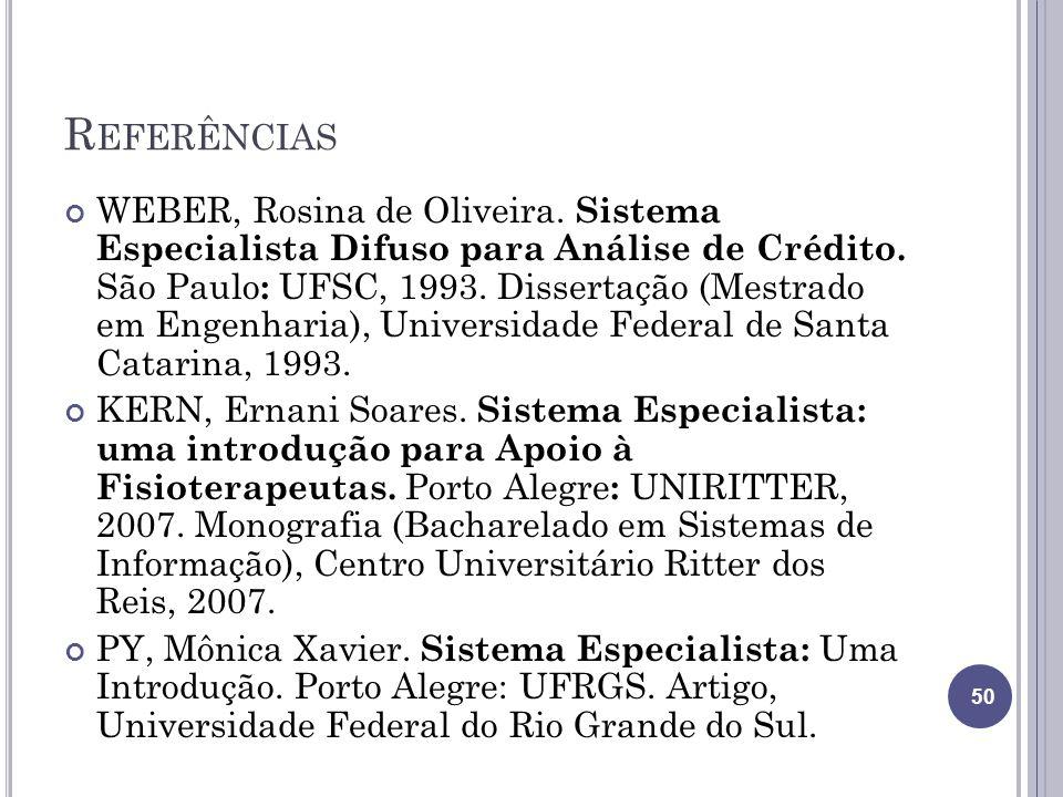 R EFERÊNCIAS WEBER, Rosina de Oliveira. Sistema Especialista Difuso para Análise de Crédito. São Paulo : UFSC, 1993. Dissertação (Mestrado em Engenhar
